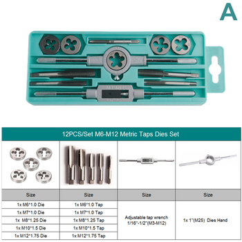 EVANX 12PCS/20PCS Tap Die Set Metric/Inch Screw Thread Tap With Adjustable Tap Wrench Hand Screw Tap Car Repair Hand Tools