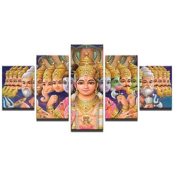Modern Frames For Print Modular Pictures 5 Panel Indian God Shiva Wall Art For Living Room Home Decor Artwork Canvas Print