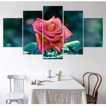 Unframed Canvas Painting Romantic Red Flower Oil Picture Cuadros Decoracio Flore Art Print Poster Modular Home Decoration 5pcs