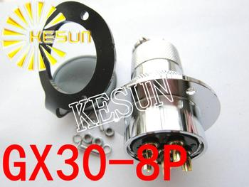 10pair GX30-8 GX30 8Pin With Flange Male & Female 30mm Wire Panel Connector M30 circular connector Socket Plug
