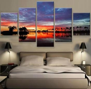 5 Panels Sunset Tree Canvas Painting HD Print Picture Cuadros Decoration Wall Pictures for Living Room With Frame To Hang