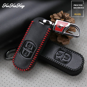 KUKAKEY Leather Car Key Case Fob Cover For Mazda 2 3 5 6 8 MX5 CX-3 CX-5 CX-7 CX-9 Axela 3 Atenza Key Protected Bag Holder Shell