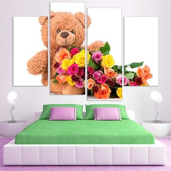 Colorful Polar Bear and flower Canvas Art Print Poster, Wall Pictures for kids bedroom, no frame wholesale
