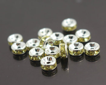 Rhinestone Crystal Spacer Copper Beads,6mm 8mm 10mm 12mm,100 pcs