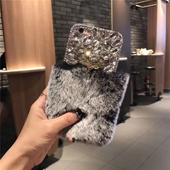 LaMaDiaa Luxury Warm Soft Fur Phone Case For iPhone X 5s 5C 6 6s Bling Diamond Ring Holder Cover For iPhone 6 6s 7 8 Plus
