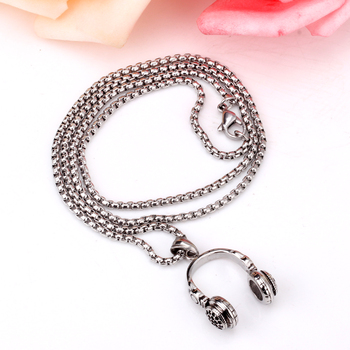LUXUSTEEL Fashion Earphone Headset Necklace Pendant Free 24inch/60cm Chain Stainless Steel Punk Rock Music Jewelry