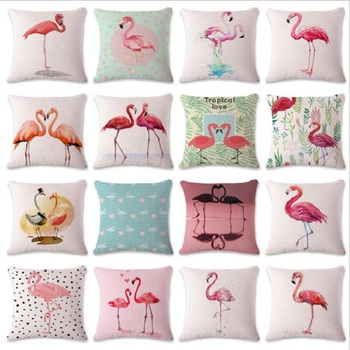 Nordic Tropical Pink Orange Flamingo Cushion Cover Cotton Linen Pillow Case Letters LOVE Car Sofa Cushion Covers 45x45cm