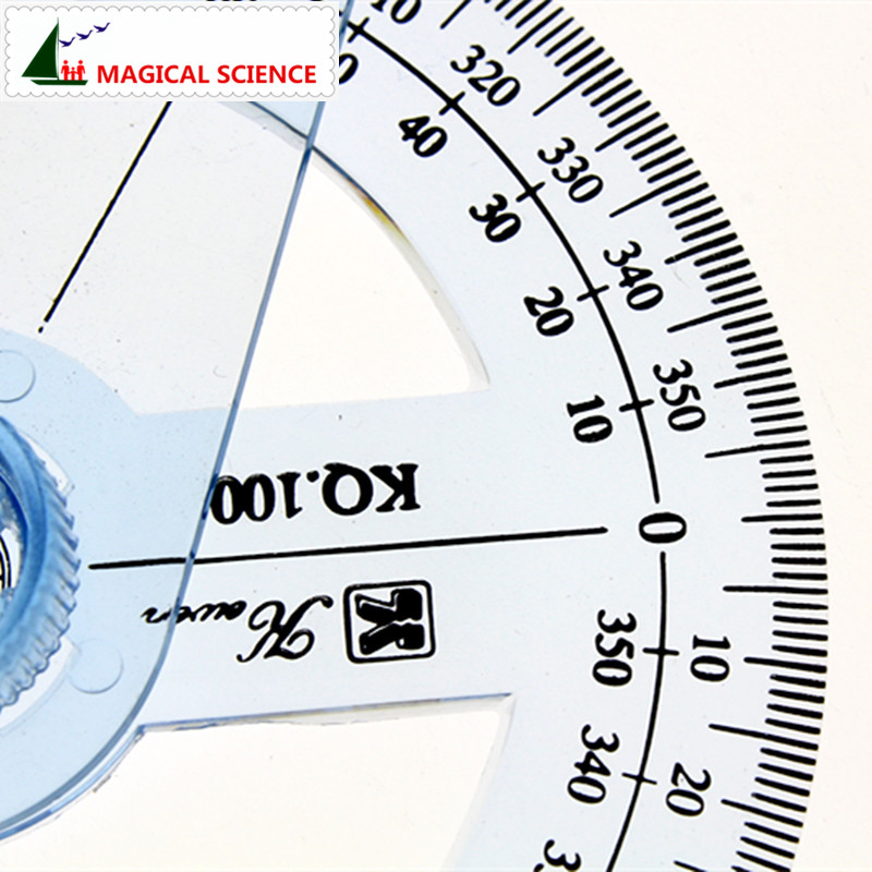 360-degree circle protractor for primary school students transparent plastic full circle goniasmometer rotating protractors 10cm
